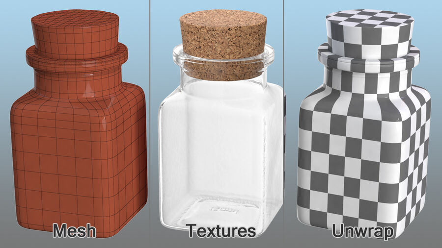 Small Kitchen Storage Jar with Cork Lid royalty-free 3d model - Preview no. 9