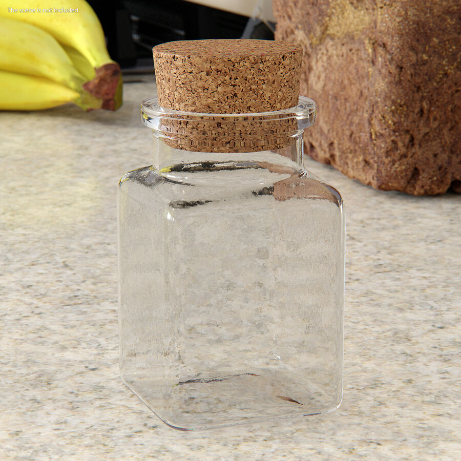 Small Kitchen Storage Jar with Cork Lid royalty-free 3d model - Preview no. 3