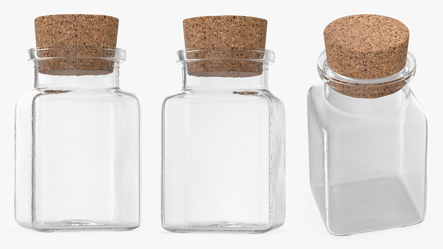 Small Kitchen Storage Jar with Cork Lid royalty-free 3d model - Preview no. 4