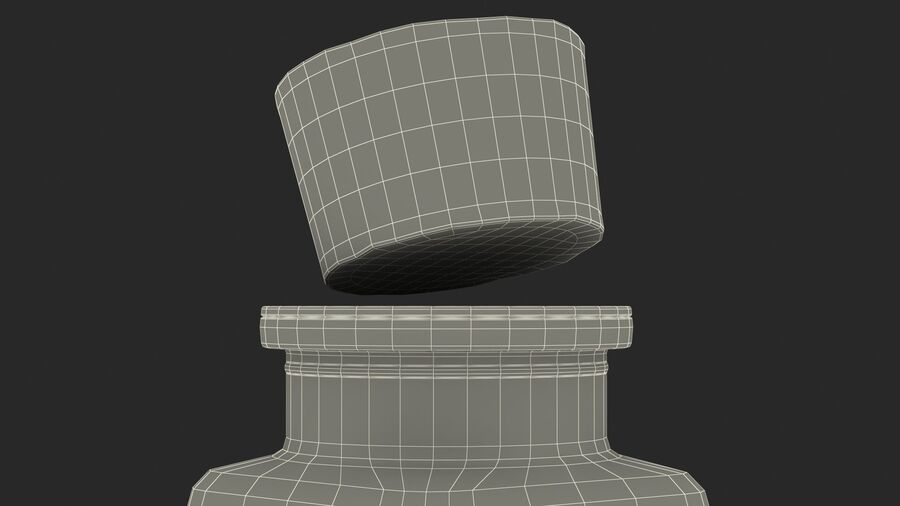 Small Kitchen Storage Jar with Cork Lid royalty-free 3d model - Preview no. 23