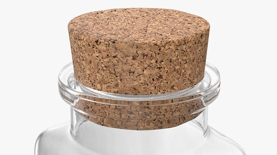 Small Kitchen Storage Jar with Cork Lid royalty-free 3d model - Preview no. 7