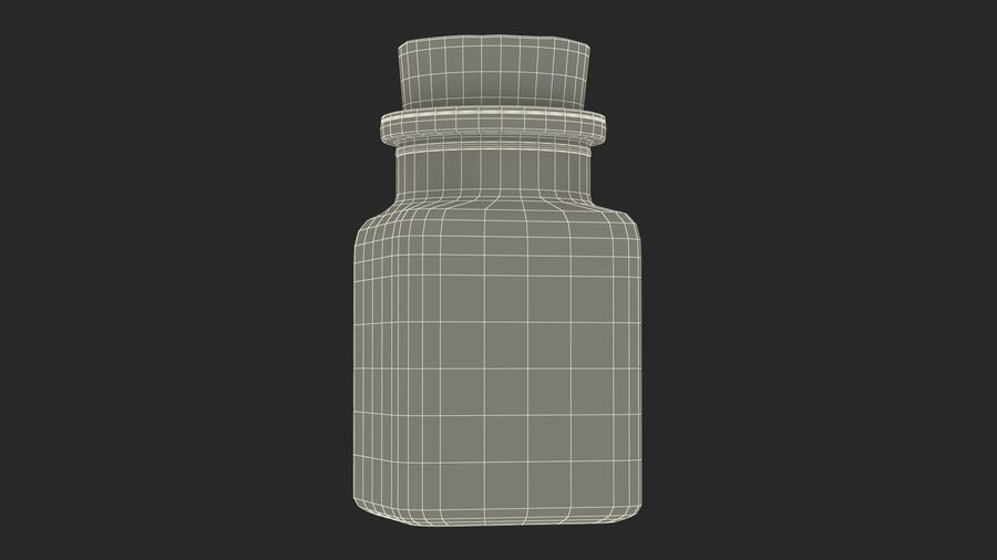 Small Kitchen Storage Jar with Cork Lid royalty-free 3d model - Preview no. 19