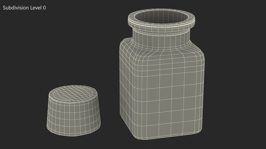 Small Kitchen Storage Jar with Cork Lid royalty-free 3d model - Preview no. 10