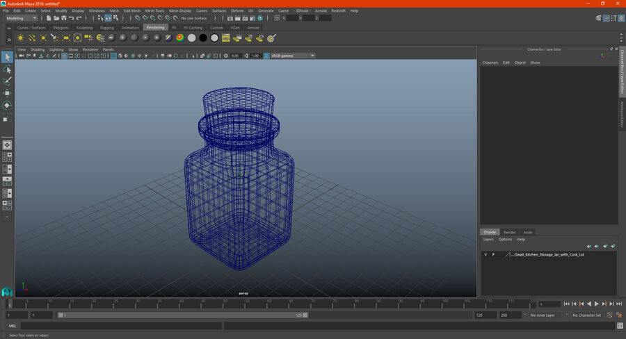 Small Kitchen Storage Jar with Cork Lid royalty-free 3d model - Preview no. 16