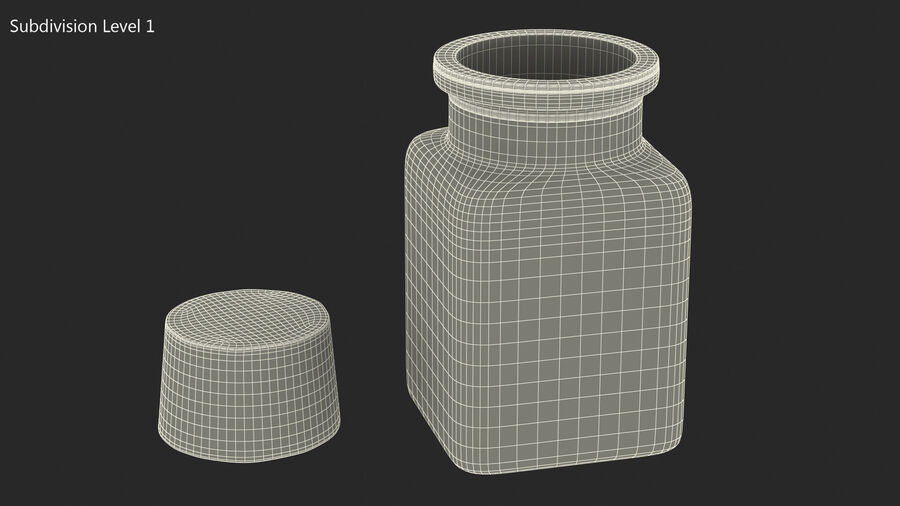 Small Kitchen Storage Jar with Cork Lid royalty-free 3d model - Preview no. 11