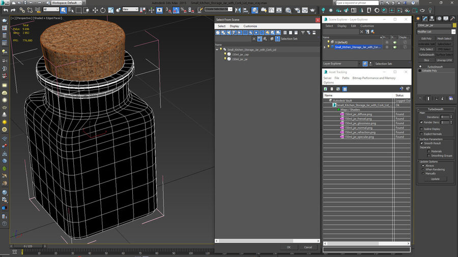 Small Kitchen Storage Jar with Cork Lid royalty-free 3d model - Preview no. 14