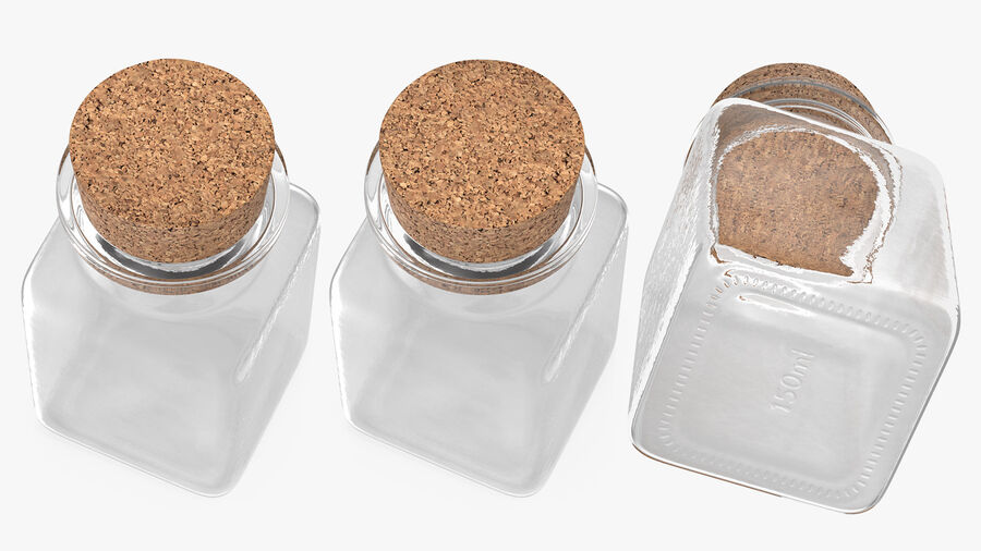 Small Kitchen Storage Jar with Cork Lid royalty-free 3d model - Preview no. 5