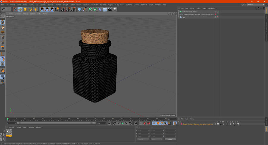 Small Kitchen Storage Jar with Cork Lid royalty-free 3d model - Preview no. 15