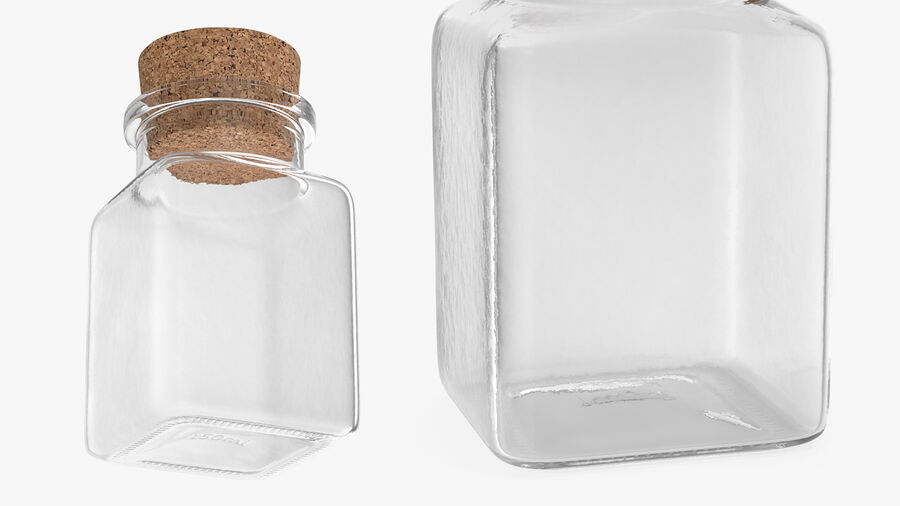 Small Kitchen Storage Jar with Cork Lid royalty-free 3d model - Preview no. 6