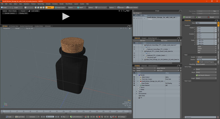 Small Kitchen Storage Jar with Cork Lid royalty-free 3d model - Preview no. 18