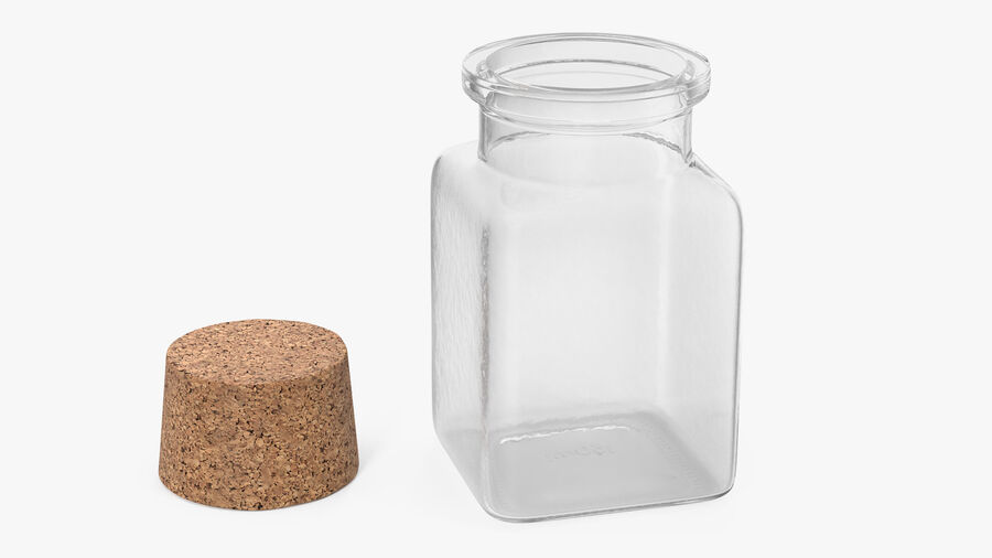 Small Kitchen Storage Jar with Cork Lid royalty-free 3d model - Preview no. 2