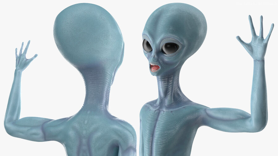 Space Alien with UFO Collection royalty-free 3d model - Preview no. 9