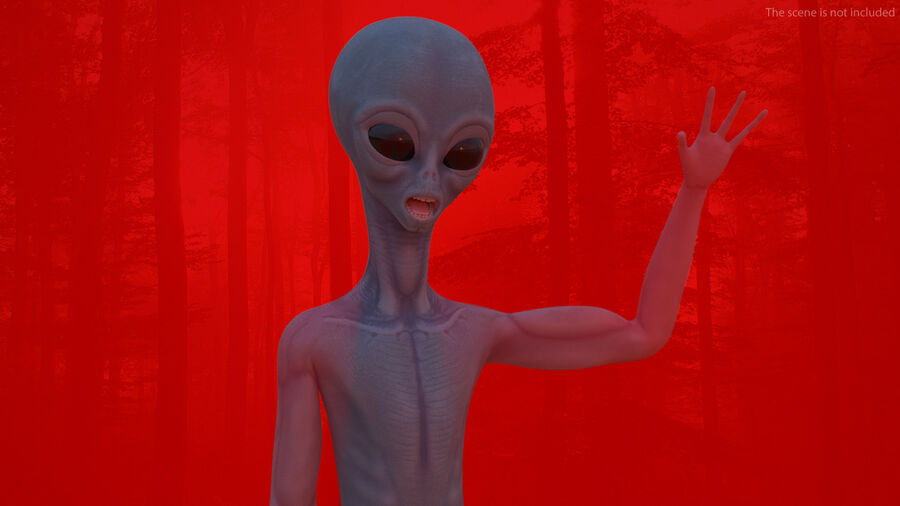 Space Alien with UFO Collection royalty-free 3d model - Preview no. 6