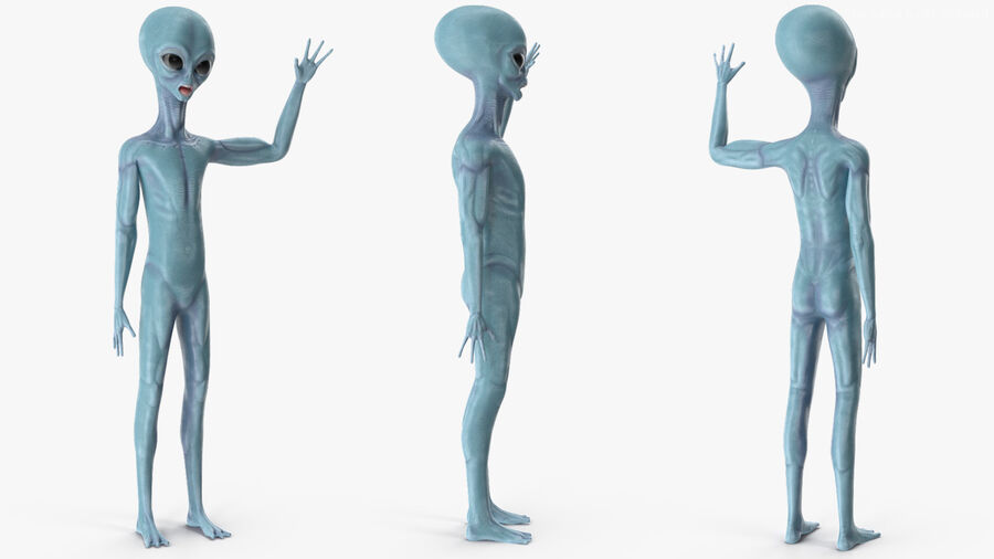 Space Alien with UFO Collection royalty-free 3d model - Preview no. 8
