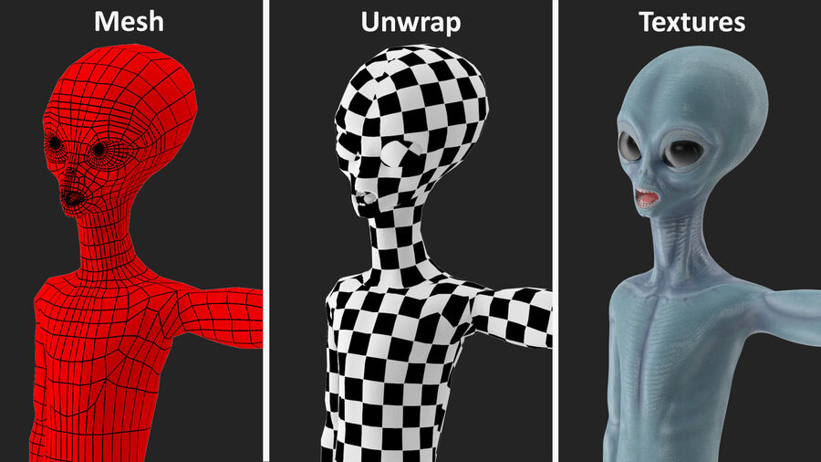 Space Alien with UFO Collection royalty-free 3d model - Preview no. 7