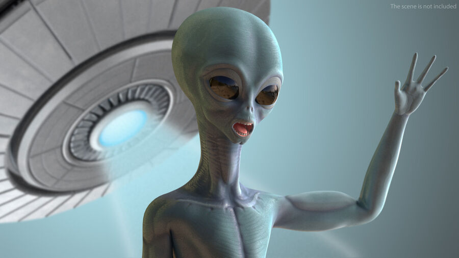Space Alien with UFO Collection royalty-free 3d model - Preview no. 5