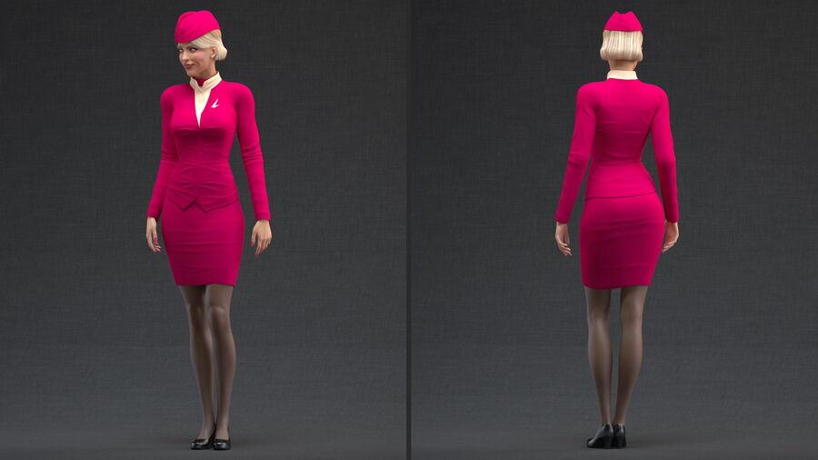 스튜어디스 스탠딩 포즈 royalty-free 3d model - Preview no. 3