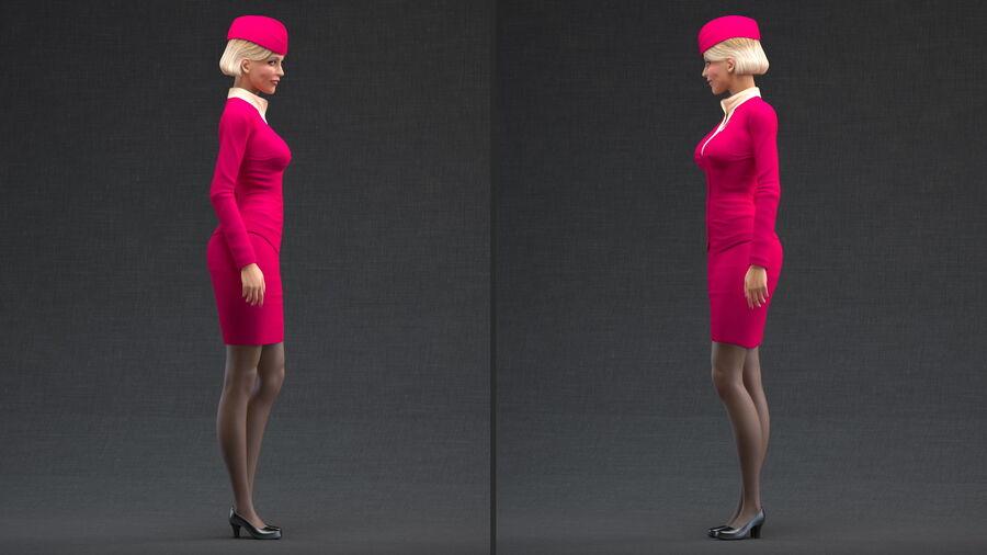 스튜어디스 스탠딩 포즈 royalty-free 3d model - Preview no. 4