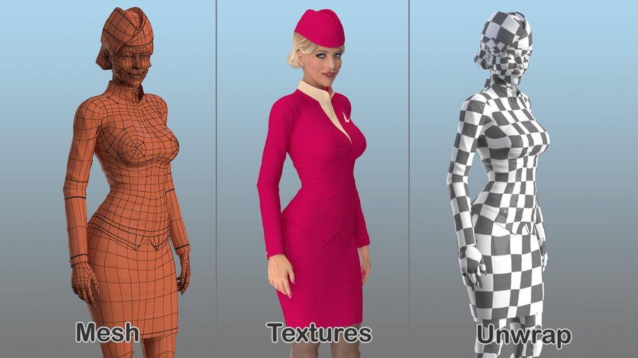 스튜어디스 스탠딩 포즈 royalty-free 3d model - Preview no. 18