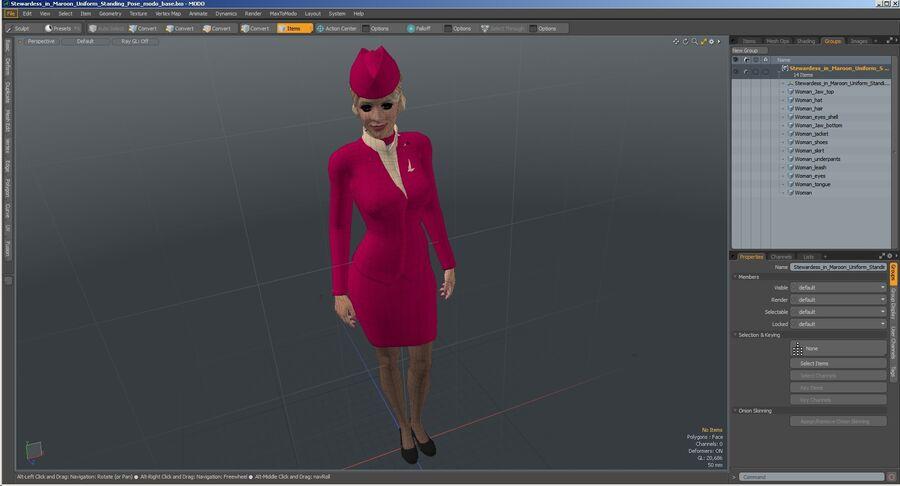 스튜어디스 스탠딩 포즈 royalty-free 3d model - Preview no. 33