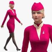 Stewardess  Walking Pose 3d model
