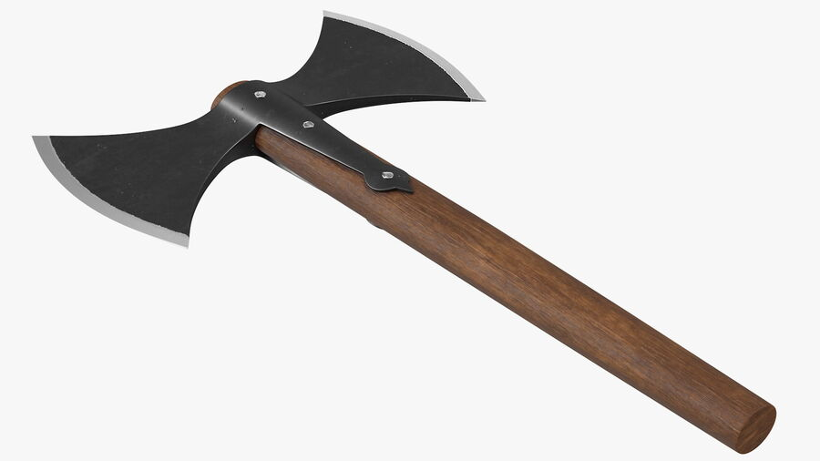 Throwing Double Bladed Axe royalty-free 3d model - Preview no. 9