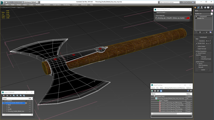 Throwing Double Bladed Axe royalty-free 3d model - Preview no. 16