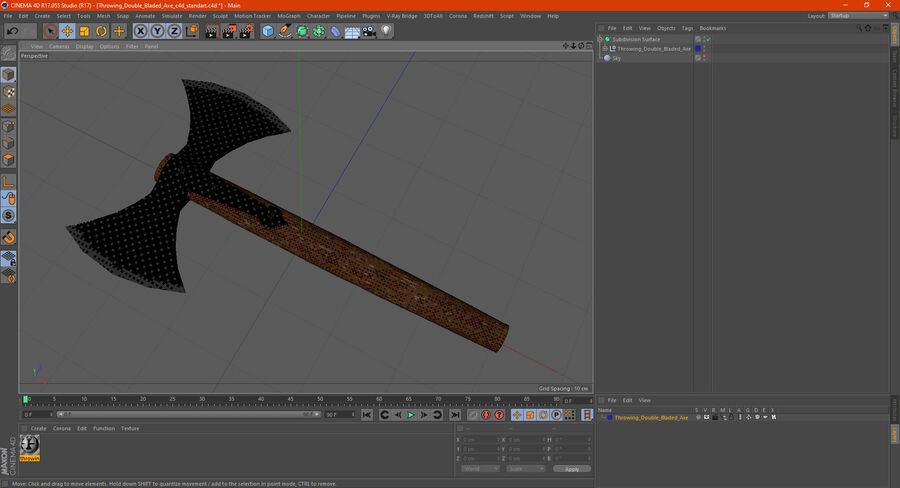 Throwing Double Bladed Axe royalty-free 3d model - Preview no. 17