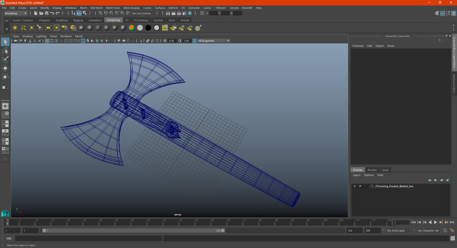 Throwing Double Bladed Axe royalty-free 3d model - Preview no. 18