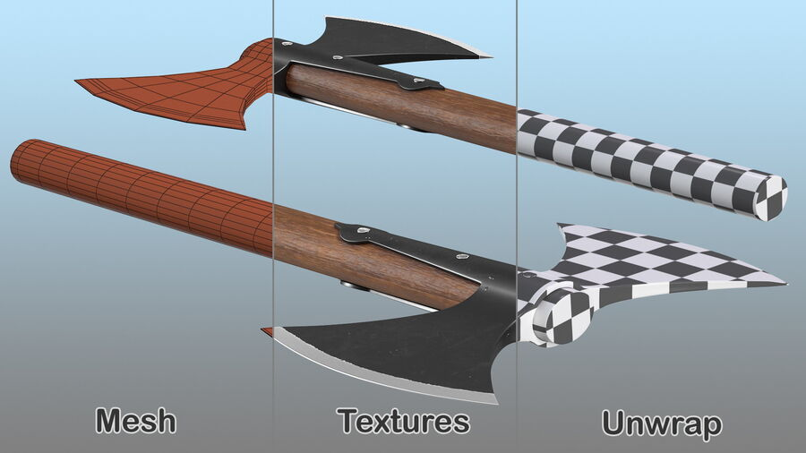 Throwing Double Bladed Axe royalty-free 3d model - Preview no. 11