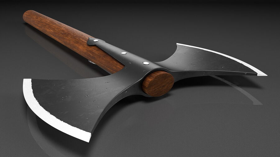 Throwing Double Bladed Axe royalty-free 3d model - Preview no. 6