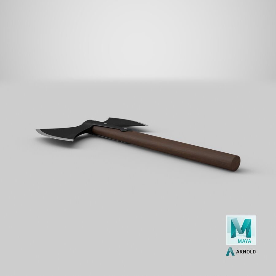Throwing Double Bladed Axe royalty-free 3d model - Preview no. 8