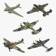 Kolekcja Vintage Military Bombers Rigged 3d model