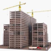 Byggkonstruktion med utrustning 3d model