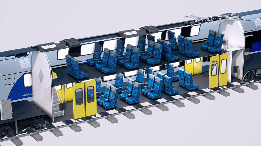 Stadler KISS Double Deck Train 3D-modell royalty-free 3d model - Preview no. 8