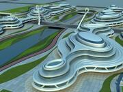 未来的な街並み 3d model