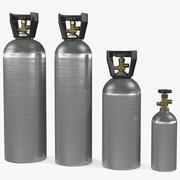 Zestaw aluminiowych zbiorników CO2 3d model