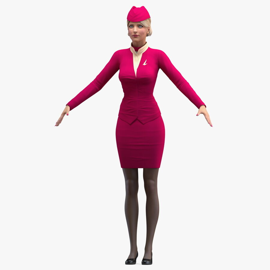 Airline Hostess in Maroon Uniform T Pose royalty-free 3d model - Preview no. 1
