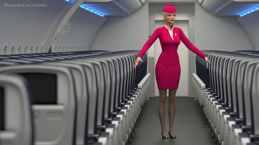 Airline Hostess in Maroon Uniform T Pose royalty-free 3d model - Preview no. 7