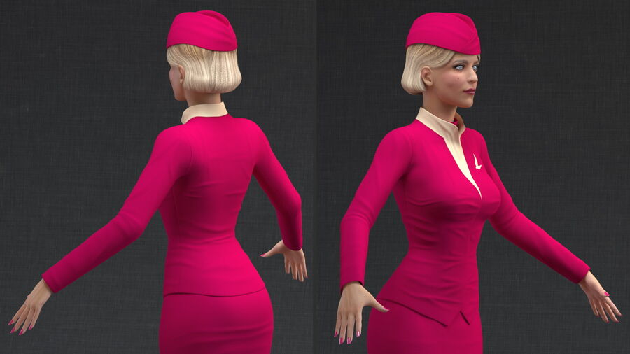 Airline Hostess in Maroon Uniform T Pose royalty-free 3d model - Preview no. 5