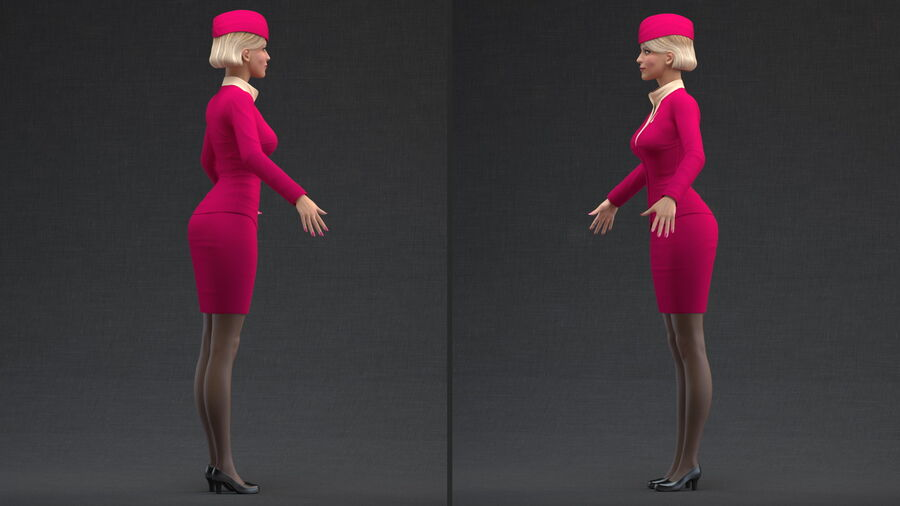 Airline Hostess in Maroon Uniform T Pose royalty-free 3d model - Preview no. 4