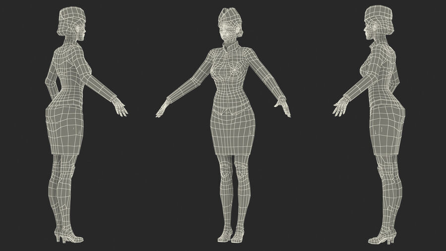 Airline Hostess in Maroon Uniform T Pose royalty-free 3d model - Preview no. 25