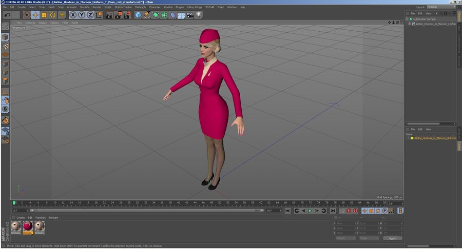 Airline Hostess in Maroon Uniform T Pose royalty-free 3d model - Preview no. 29