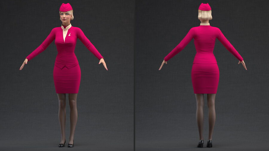 Airline Hostess in Maroon Uniform T Pose royalty-free 3d model - Preview no. 3
