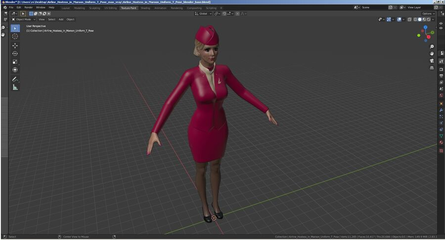 Airline Hostess in Maroon Uniform T Pose royalty-free 3d model - Preview no. 28