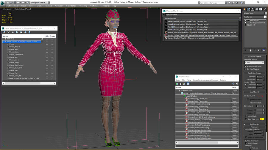 Airline Hostess in Maroon Uniform T Pose royalty-free 3d model - Preview no. 24