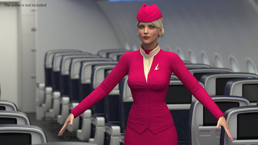 Airline Hostess in Maroon Uniform T Pose royalty-free 3d model - Preview no. 9