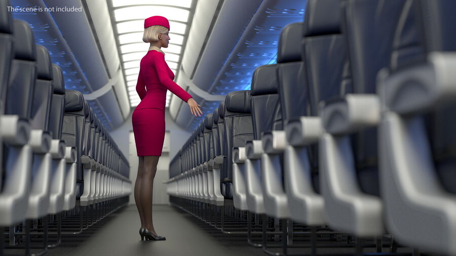 Airline Hostess in Maroon Uniform T Pose royalty-free 3d model - Preview no. 8