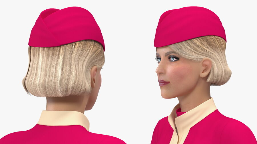 Airline Hostess in Maroon Uniform T Pose royalty-free 3d model - Preview no. 12