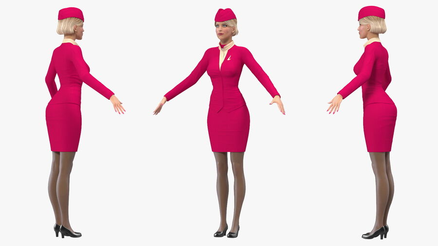 Airline Hostess in Maroon Uniform T Pose royalty-free 3d model - Preview no. 10